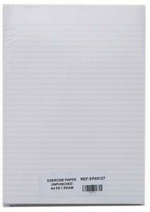 A4 Exercise Paper White 8mm Ruled 500 Pack
