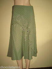 White Stuff ~ Khaki Green Cotton Skirt ~ Floral Applique ~ Size 8 Length 29""