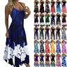 Womens Boho Summer Holiday Long Sling Dress Ladies Party Maxi Strappy Sundress