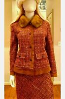 $4,500 DOLCE && GABBANA 2pc Jacket Skirt Suit SET 42 44 46 6 8 10 Mink Collar M