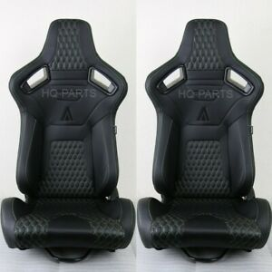 2 TANAKA PREMIUM BLACK CARBON PVC LEATHER RACING SEATS + GREEN STITCH FOR NISSAN