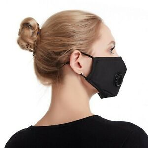 Cotton Face Cover with Breathing Valve, Reusable Face mask Adjustable Ear Loops