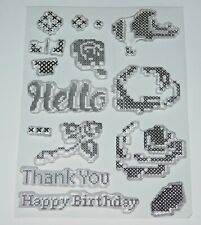 Cross Stitch Flower Stamps - with Sentiments -FREE P & P