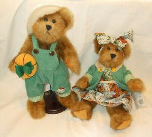 "2 VTG GANZ HAZEL & HUNTER FALL LEAF PUMPKIN DRESS FULLY JOINTED 11"" TEDDY BEARS"