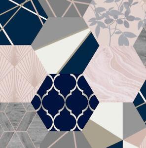 New Geo Hexagon Patchwork Wallpaper Pink Blush Navy Grey Gold Metallic Geometric