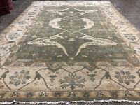 10x14 GREEN HAND KNOTTED RUG WOOL OUSHAK NEW USHAK oriental rugs muted modern