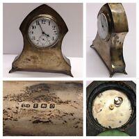 Antike Tischuhr Uhr Gehäuse Sterlingsilber Silberuhr Ankergang Handaufzug