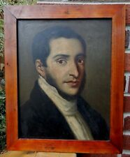 Antique FEDERAL Handsome Gentleman Oil Portrait Painting on WOOD Old FRAME 1840s