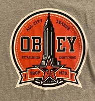 Obey Mens Graphic T-Shirt XL Gray Red All City League Spell Out Star EUC