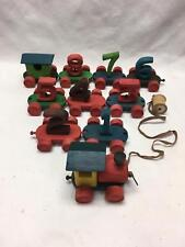 """Vintage Wood Train Pull Toy Set Cars are Numbers 1 to 8 Engine & Caboose 41.5"""""""