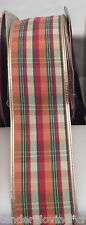 "FALL PLAIDS 2 1/2"" WIRE RIBBON 5  YARDS,CRAFTS,BOWS,WREATHS"