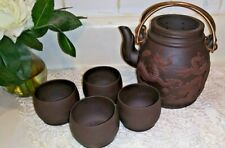 Clay Dragon embossed Chinese Tea Pot w cup