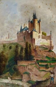 THE SEGOVIA ALCÁZAR AND SEGOVIAN LANDSCAPES. WATERCOLOR. ANONYMOUS. SPAIN. XIXTH