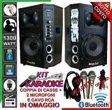 COPPIA DI CASSE 1300W IMPIANTO KIT KARAOKE MICROFONI RCA Mp3 Bluetooth USB RADIO