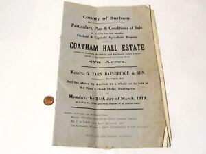 1919 Coatham Hall Estate Auction Booklet Tarn Bainbridge Darlington #Y21