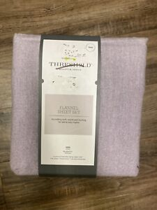 Threshold Solid Flannel Sheet Set Purple Twin