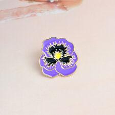 Cute Purple Flower Shape Enamel Brooch Denim Jacket Collar Pin Badge Jewelry