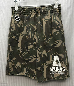 A BATHING APE Sweat Shorts Men's Small  AAPE Reversible Camo/Black Mesh New