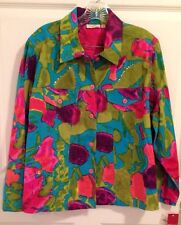 NWT Choices Woman 1X Tropical Jacket Bright Multi Colored Sequin Embellished