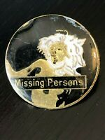 Collectible Vintage Missing Persons Band Colorful Metal Pinback Hat Pin