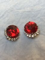 1950s Style Earrings Clip On Clear Glass & Red Plastic Vintage Jewellery