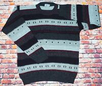 Vintage 80s/90s  Wool Mix Cosby Funky 3D Patterned Sweater Jumper Pullover Large
