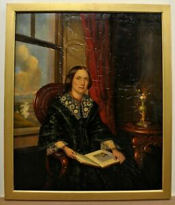 ANTIQUE MID 19TH CENTURY OIL ON CANVAS PORTRAIT LADY WITH A BOOK PAINTING