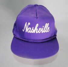 Vintage Nashville Purple Adjustable Snapback Rope Brim Hat 90s Hipster Country
