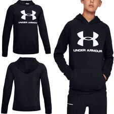 Under Armour Boys Kids Rival Hoodie Sweatshirt Tracksuit Top Hoody Black Age