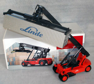 BLUE CD:Linde Container Reach Stacker forklift truck fork lift + Metal cont. MiB