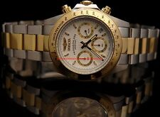 Invicta Mens Speedway Chronograph White Dial 18KT Gold-Plated SS Bracelet Watch