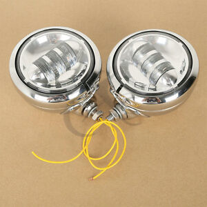 "4-1/2"" LED Auxiliary Spot Fog Passing Lights & Housing Bucket For Harley Moto"