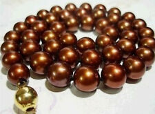 """8mm AAA Chocolate south sea Shell Pearl Round Beads Necklace 18"""""""