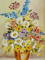 Margot Lange (XX) - kl. Stillleben-Gemälde: TOLLE SOMMERBLUMEN MIT RITTERSPORN