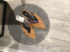 HM Mustard Frill Mules 4 37 New H&M Beige Yellow Loafers Slides Sliders BNWT