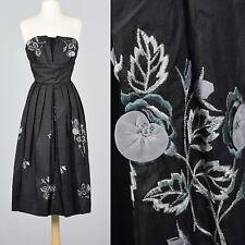 S 1950s Strapless Black Silk Dress Floral Embroidery Hidden Front Panel 50s Vtg