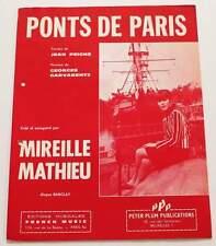 Partition sheet music MIREILLE MATHIEU / GARVARENTZ : Ponts de Paris * 60's