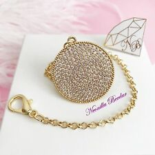 Golden Pacifier clip made with Crystals - Baby Shower Gift - Round Metal Clip