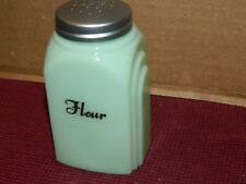 """Jade Green Glass 4"""" Tall Arched Side Bakery Flour Shaker Top Cannister Jar ~New"""