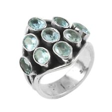 Natural Aquamarine 925 Sterling Silver Handmade Jewelry Ring Size 7.5 IN-1319