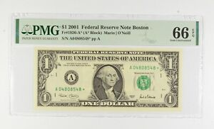 STAR NOTE - PMG Graded 66 EPQ $1 2001 FR1926-A* FRN - Error Replacement *490