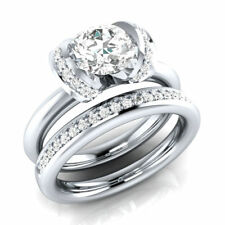 Certified 3.03ct White Round Diamond 14K White Gold Solitaire & Accents Ring Set
