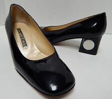 Gianmarco Lorenzi Black Patent Leather Pumps Chunky Heel 35 US sz 4.5 Italy
