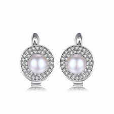 JewelryPalace 7mm Freshwater Cultured Pearl Hoop Earrings 925 Sterling Silver