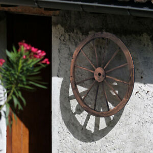 2 tlg. Wagenrad Holzrad mit Eisenblech Holz Wagen Dekorad Dekoratives Wagon Rad