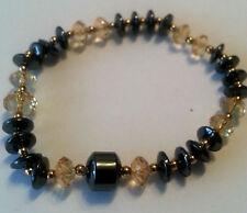 Modeschmuck Magnetarmband Hämatite Magnetic Diamond Farbe goldbraun Drum 8mm#132