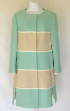 VINTAGE 1960s MOD LILLI ANN KNIT COAT / DRESS CREAM SEAFOAM WHITE LINED SLITS