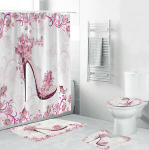 Floral High Heel Bathroom Rug Set Shower Curtain Thick Bath Mat Toilet Lid Cover