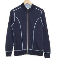 Tommy Bahama Full Zip Reversible Jacket Womens Size Medium Blue Long Sleeve