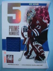 "2011-12 Panini (Elite) ""Prime Numbers 5"" (551 Wins) Game Jersey # 4 Patrick Roy!"